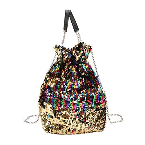 Mitlfuny handbemalte Ledertasche, Schultertasche, Geschenk, Handgefertigte Tasche,Frauen-Mädchen-Paillette-Kettenbunte Schulter-Beutel-Prinzessin Bling Crossbody Bag
