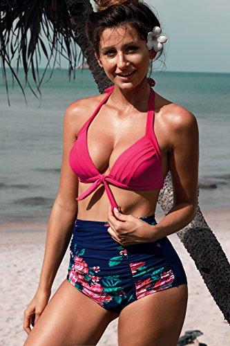 Angerella Vintage Bademode mit Faltenwurf hohe Taille Bikini Set Rosa