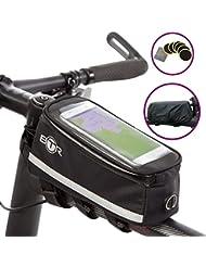 Bolsa de bici de BTR con funda para el móvil Deluxe – Bolsa para el cuadro de la bici impermeable. 100% Garantizada: Protege TODOS sus objetos de valor de la lluvia – Se adapta a TODAS las bicis