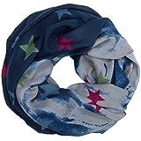 CASPAR SC470 Damen Vintage Loop Schal mit Sternen Muster, Farbe:blau;Größe:One Size