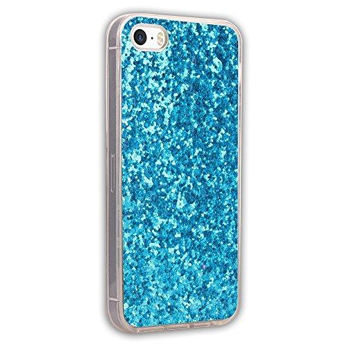 JIALUN-étui pour téléphone Tout le côté de l'imitation de la lumière Shiny TPU Back Cover Beautiful Phone Case pour IPhone 5 et 5 et SE ( Color : Green ) Blue