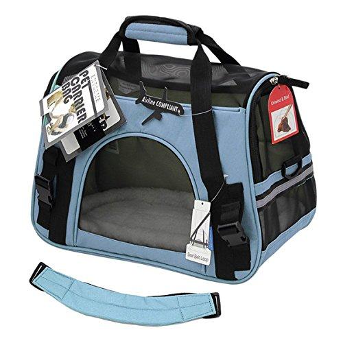 Transporttasche Reisetasche Hund Katze Hase Kaninchen andere Kleintiere mit Flugzulassung (Hellblau)