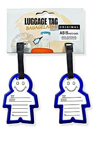 Kofferanhänger Gepäckanhänger Adressanhänger - für Kinder Gepäck - Koffer - Tasche - 2 Stück - mit Namensschild - Adresse ist vor Schmutz geschützt - Farbe: Blau