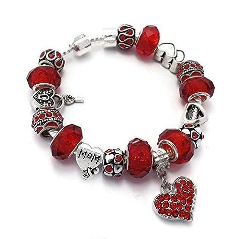 Rouge Mom Amour coeurs Bracelet à breloques style Pandora dans coffret cadeau 20cm