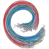 Cizen Collar de Cuerda de Cera con Broche de Langosta, Collar de Cuero Artificial Cuerda, 45cm con Cierre a Granel y Cadena de Extensión de 5cm para Hacer Collar, Pulsera y Hacer Joyas