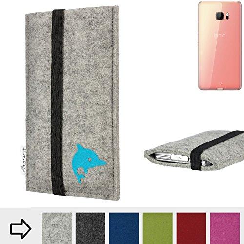 flat.design Handyhülle Coimbra mit Delphin und Gummiband-Verschluss für HTC U Ultra - Schutz Case Etui Filz Made in Germany in hellgrau schwarz türkis - passgenaue Handy Tasche für HTC U Ultra