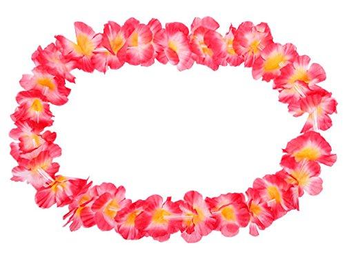 Alsino Hawaiiketten 12er Set Hula Ketten Blumenketten Hawai Party Deko, Durchmesser: 50 cm, grün, weiß und rot HK-19