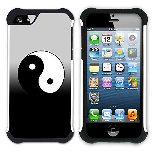 Graphic4You Yin und Yang Chinesisch Symbole Hart + Weiche Kratzfeste Hülle Case Schale Tasche Schutzhülle für Apple iPhone SE / 5 / 5S Design #2