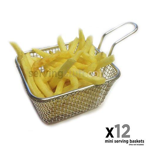 Juego de 12mini cestas para servir–Mini cestas freidoras–ideal para patatas fritas, cuñas, aros de cebolla, pollo, scampi