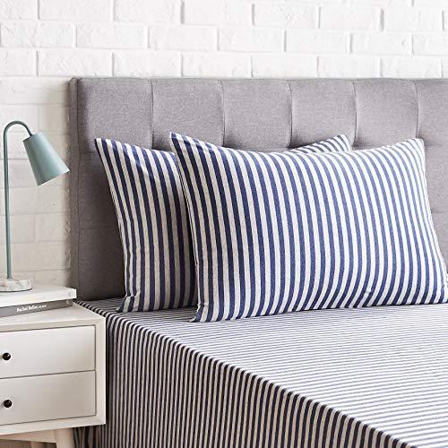 AmazonBasics - Juego de 2 fundas de almohada, diseño de rayas, 50 x 80 cm, Azul Marino