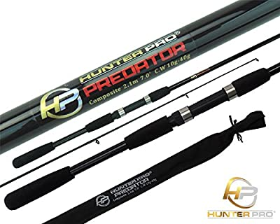 6ft 7ft Pike Spinning Fishing Rod. Composite 2pc Rod. Bass, Perch, Lure fishing by Hunter Pro