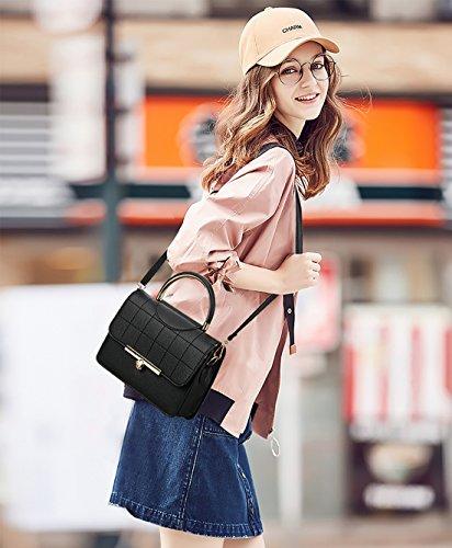 NICOLE&DORIS Mode Frauen Handtaschen Umhängetasche Damenhandtaschen Henkeltaschen Schultertaschen Shopper Wasserdicht PU Schwarz Schwarz