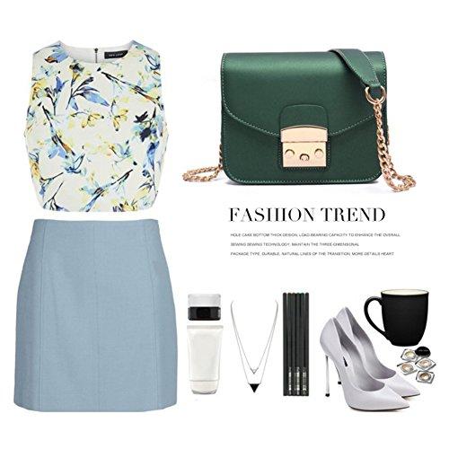 Sacchetti alla moda di Yoome Retro Tiny Flap Ribattini Borse alla moda catena polacche per le donne Borse da donna per le ragazze - verde verde