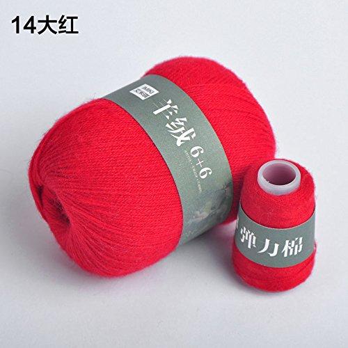 Fairy shop Wolle Garn 100% Kaschmir Garne Für Hand Stricken Mitte Chunky Cashmere Garn Baby Thema Stricken Häkeln Wolle Garn, 14 Rote (Chunky Garn Muster)