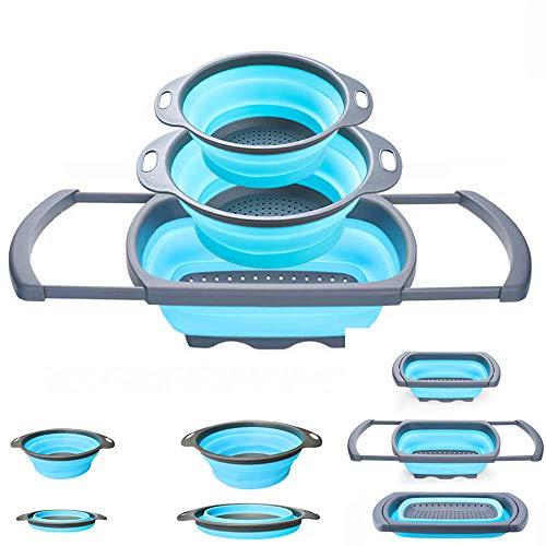 Zusammenklappbares Sieb - Küchensieb - Silikon-Küchensieb Set von 3-6 Quart, 3 Quart und 2 Quart zum Abtropfen von Nudeln, Gemüse und Obst blau 4 Quart Colander