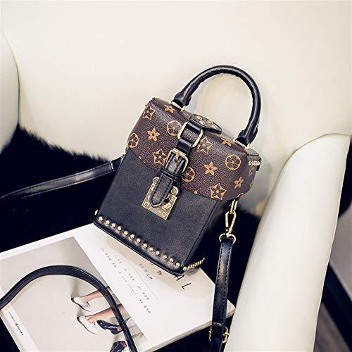 HUOYUJIE Europa und die Vereinigten Staaten drucken alte Blume kleine Box Handtasche Box Umhängetasche Handtaschen Kontrastfarbe kleine quadratische Tasche JF (Color : D) -