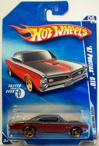 Hot Wheels 2010-134 Red/Grey '67 Pontiac GTO Faster Than Ever 1:64 Scale (Gto Hot Wheels)