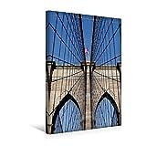 Calvendo Premium Textil-Leinwand 30 cm x 45 cm hoch, Brooklyn Bridge | Wandbild, Bild auf Keilrahmen, Fertigbild auf Echter Leinwand, Leinwanddruck Orte Orte