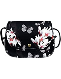 Rrimin New Fashion Women PU Leather Flower Printed Messenger Bag Shoulder Crossbody Bag