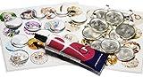 Amaraperlen Schmuckzubehör Cabochonset 25mm Vintage+Katzen in Silberfarben mit 53 Teilen: 10 Cabochons, 10 Rohlinge, 1xKleber und 32 Motiven Zum Schmuckanhänger basteln