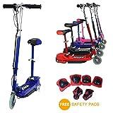 Eglide E-scooter–Monopattino elettrico 120W per bambini con sedile rimovibile + protezioni di sicurezza, Red