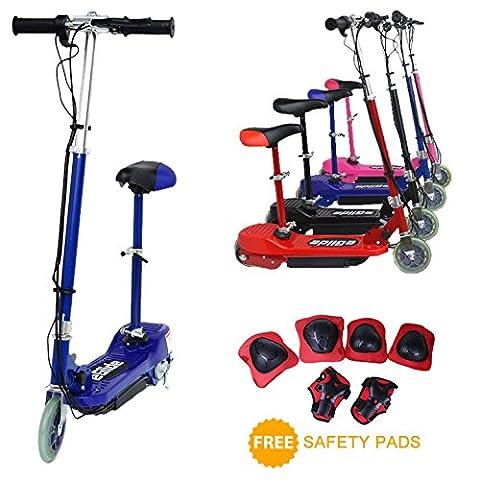 E-Scooter von EGlide–120W Elektro-Scooter mit Kindersitz, Kinder-Scooter mit abnehmbaren Sitz + Sicherheitspaolster, schwarz