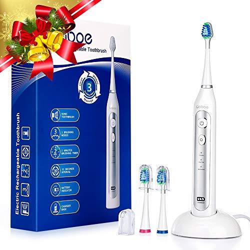 Liaboe spazzolino elettrico sonica, ricaricabile spazzolino con 3 modalità, base di ricarica wireless, 40000 oscillazioni/min e 3 teste della spazzola, ipx7 impermeabile,v5731