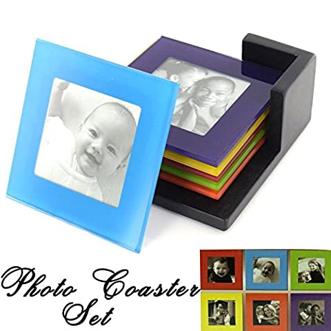 Set Of 6 Coloured Glass Photo Coasters Picture Frame Tableware Coaster Placemats Drinks Cup Mat