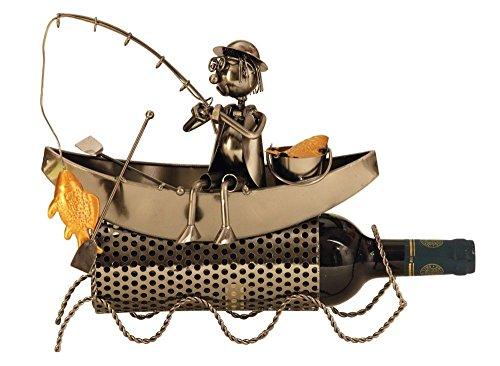 Extravaganter Wein Flaschenhalter Fischer im Boot aus Metall Höhe 27 cm