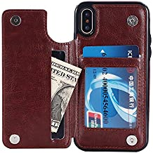 UEEBAI Case for iPhone X, Luxury PU Leather Case with [Two Magnetic Buckle] [Card Slots] Stand Function Practical Soft TPU Case Back Wallet Flip Cover for iPhone X - Brown