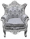 Casa Padrino Barock Wohnzimmer Set Grau Muster/Silber- 3er Sofa+2er Sofa + 1 Sessel -