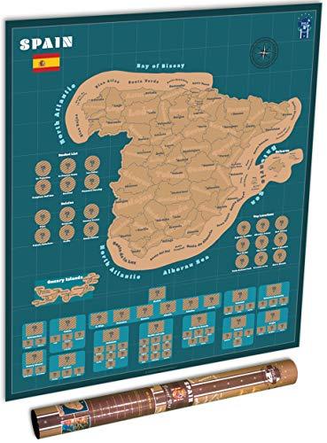 Polo-Kartografik-Reiseposter - 47,5 x 51,5 cm, Tiefblauer Reise-Tracker, markieren Sie Ihre Abenteuer in Spanien, das perfekte Geschenk für Reisende.