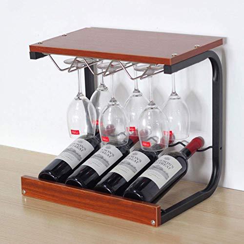 Golden_flower Freistehend 4 Flaschen Weinständer Weinregal Weinregal Weinregal 6 Weinglasaufhänger Becherhalter Stielhalter, Teak-Farbe