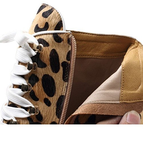 TAOFFEN Damen Mode Blockabsatz Kurze Stiefel Reißverschluss Knoechel Stiefel Leopard