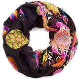 style3 Leichter Damen Loop-Schal mit grafischem Ethno-Blumen-Muster in verschiedenen Farben, SCHAL Farbe:Schwarz