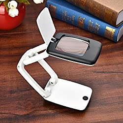 Multifunction Compact Foldable Desktop Magnifying Glass LED Desk Lighting Loupe For Reading Writing Magnifier 3X
