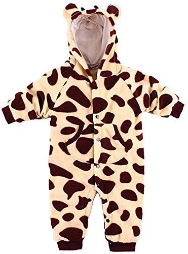 Baby Strampler Kuschel-Tiere | Babystrampler langarm | Jogginganzug, Größe:12-18 Monate;Modell:Giraffe