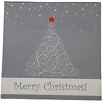 khevga Servilletas Color Blanco Gris Navidad 33x 33cm