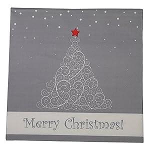 khevga 40 Servietten weiß grau Weihnachten 33 x 33 cm
