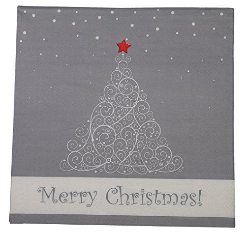 khevga 40 Servietten weiß grau Weihnachten 33 x 33 cm (Zustand Weihnachtsbaum)