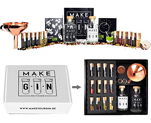 Make Your Gin Geschenkset Geschenkbox Gin zum Selbermachen - 14 Hochwertige Botanicals + Bar Trichter + Anleitung mit Rezept - 11 verschiedene Gewürze - Gin-Baukasten - Geschenk für Mann und Frau