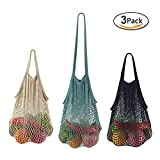 GoldLiiver Sac Filet Coton Net Sac en Maille Provision Filet Femme Filet tissé Sac Sac à Main RéUtilisable De Stockage De Fruits Sacs Fourre 3pcs (Colourful A)