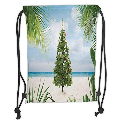 nted Drawstring Sack Backpacks Bags,Christmas Decorations,Tree with Tinsel and Ornaments Tropic Island Sandy Beach Party,Green Blue Cream Soft Satinr ()