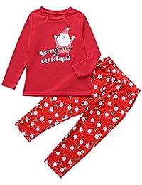 Zolimx Family Anzug Passende Weihnachten-Kinder Baby-Mädchen-T-Shirt übersteigt Hosen Sets Family Pajamas Sleepwear Christmas Outfits