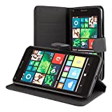 ECENCE Microsoft Lumia 650 Coque de Protection Housse Pochette Wallet Case Noir + Film Protecteur ECRAN 14030504
