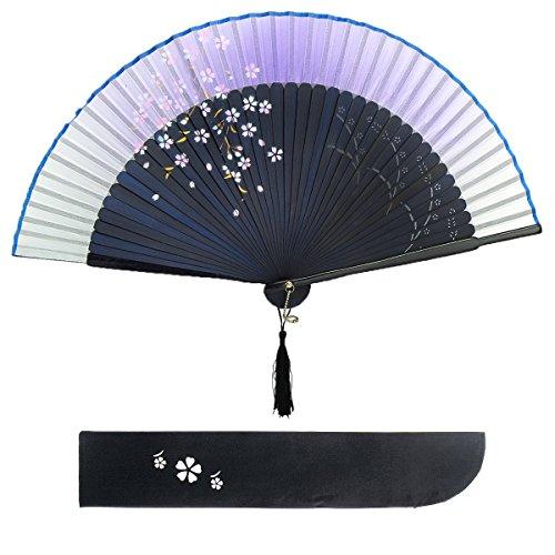 Blütenkirsche Muster Spitze Bambus Faltbar Handfächer für den Sommer Anlässen, Gartenfeste, Hochzeiten im Freien, Tuch Dekoration (Lila) -