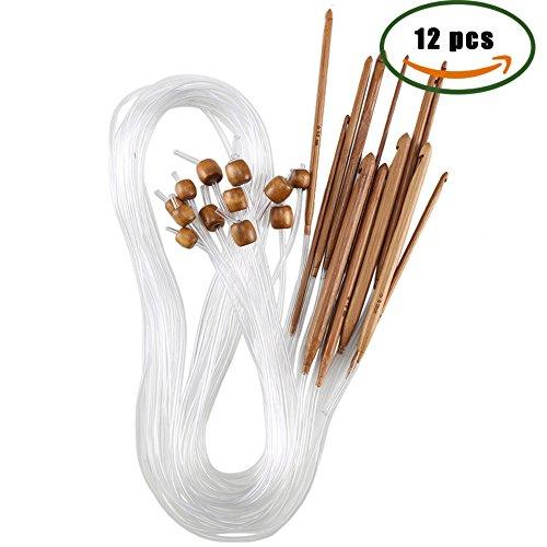 ManYee 12pcs agujas de tejer de bambú, agujas de ganchillo afganas de madera adecuadas para ganchillo diferentes patrones, artículos de encaje, manteles individuales y ropa de bebé que teje herramientas