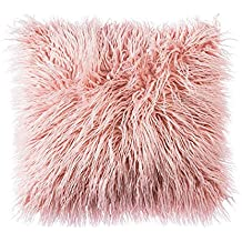 LIVEBOX - Funda de almohada muy suave, piel sintética de Mongolia afelpada, 100% poliéster/poliéster, Rosa, 18 x 18 Inch