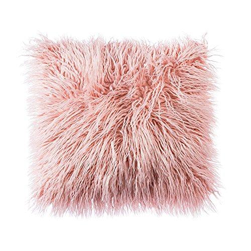 LIVEBOX - Federa per cuscino deluxe decorativa in finta pelliccia super morbida della Mongolia, 100%_poliestere/poliestere, Rosa, 20 x 20 pollici