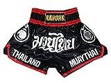 Kanong Muay Thai Kick Boxen Hose Hosen Shorts : KNS-118-Schwarz-S